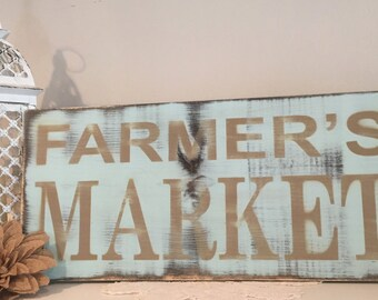 Rustic Farmers Market Sign, Farmer's Market Sign, Distressed Wood Sign