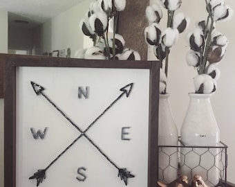 NSEW stringart direction sign