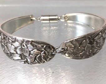 Spoon Bracelet | Narcissus | Narcissus Bracelet| Narcissus silverware, spoon jewelry, vintage silverware jewelry, silverware jewelry
