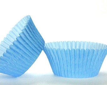 50pc Solid Light Blue Color Standard Size Cupcake Baking Cups Liners Wrappers