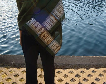Women Olive-Green Shawl/Large Shawl/scarf ethiopia/Olive scarf/Saba scarf