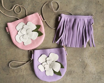Leather Flower Toddler Purse, childs bag, little girl purse