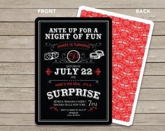 Casino Invitation / Surprise Birthday Invitation / Casino Themed Birthday