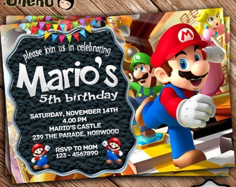 SALE 50% OFF Mario Birthday Invitation Printable - Mario Birthday Invitation Theme - Mario Invitation for Girls and Boys - Mario Celebration