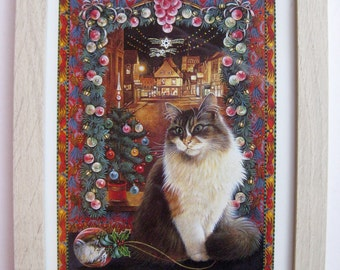 FRAMED Lesley Anne Ivory Christmas Cat vintage print. 'Agneatha'. Lovely Xmas gift.