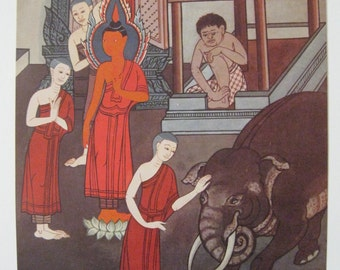Fantastic vintage book print. The Life of the Buddha. Temple paintings. 20 x 27 cm.