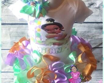 Disney babies princess tiana ribbon trimmed tutu set