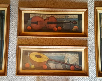 "Set of 4 Signed Litho Prints 1958 by ED PRICE, Huge 33"" x 14"" Each Panel Wood Frames Mid Century Modern 1950's String Instruments Musical"
