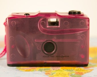 Pink Transluscent Focus Free 35mm Camera - Great for Lomo - #PS96