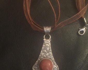Goldstone brown and silver pendant on organza ribbon necklace