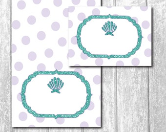 Mermaid Food Tent Cards/foldable/printable/INSTANT DOWNLOAD/2 per page/BLANK