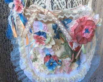 Pansy Shoulder Bag Shabby Chic Boho Handcraft Ribbonwork flowers Lace