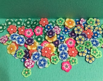 Polymer Clay Cane Mix Flower Fimo Cane Slices Mix Mini Flower Sweets Deco Kwaii Nail Art Decor (100 pcs by random)