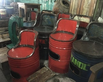 Recycled Oil Drum Seat - Industrial Furniture Barrel Chair - Choose your color!