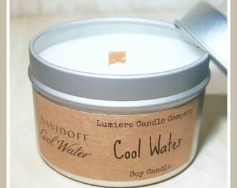 DAVIDOFF COOL WATER (type)  scent!   Wood Wick Soy Candle   Candle Tin   Hand Poured Eco Friendly Natural Candles   Scented Soy Candles