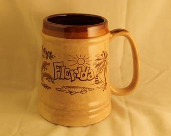 Florida Mug Cup Tankard Stein Vintage Ceramic Beige Brown Alligator Sun Palm Trees Sailboat Dolphins