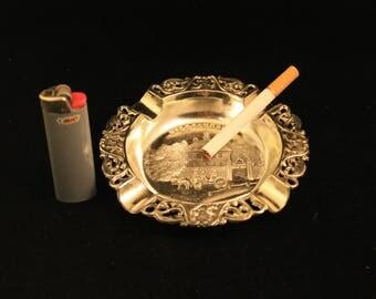 Williamsburg Virginia Ashtray Vintage Crome-like Metal Travel Souvenir Cigarette Tobacco Smoker Gift
