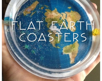 Flat Earth Coaster BIGG Durable w/Sun and Moon Beads in rim along with Stars around the Moon
