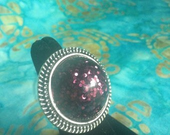 Deep Purple Glitter & Resin Adjustable Statement Ring, with Rope Boarder