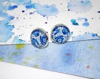 Blue and white porcelain art earrings - Blue and white stud earrings - Blue flower stud earrings - Blue rose earrings - Everyday earrings