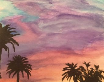 Sunset Sky with Palm Trees