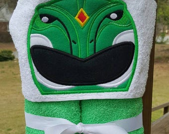 Green Power Ranger  Inspired Hooded Towel with FREE EMBROIDERED NAME