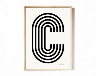Letter C - modern typography alphabet print.