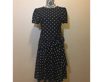Vintage 80s Dress | 80s Dress | Black Polka Dot Dress