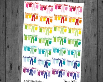 Hanging Laundry Day Planner Stickers: Rainbow, Laundry Stickers