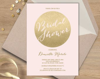 Blush and Gold Bridal Shower Invitation / Metallic Gold and Blush / Shower Invite  ▷ Printed Heavy Paper {or} Printable