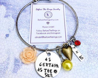 As certain as the sun - Beauty and the Beast Inspired Bangle with Wedding Date and Charms - Gift for the Bride - Wedding Anniversary Present