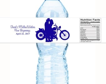 Motorcycle Wedding Water Bottle Labels  - Motorcycle Wedding Decor - Motorcycle Wedding Favors - Bridal Shower - Wedding Shower