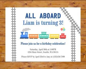 Train Birthday Invitation - Train Invitation - Boy Birthday Party - Printable, Custom, Digital File