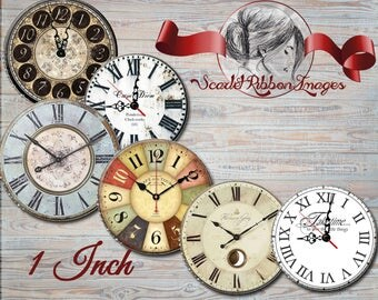 Vintage Clock Faces for bottle cap images of 1 inch round circles