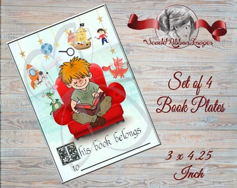 BOOK PLATES for Children's Books.Editable! Keep track of kids books or give as a perfect kids gift along with a book! Great gift with a book