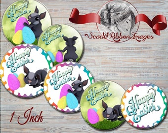 Easter Bunny digital images 1 Inch  600dpi  images,  collage paper, cupcake toppers, stickers, charms, gift tags, magnets, party supplies