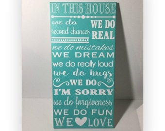 Painted canvas sign - 12 x 24 rules sign -house rules sign - family rules sign  - in this house we do sign - new home housewarming gift