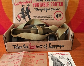 Vintage Portable Porter for Luggage, Wheels for Suitcase, In Original Box, Rolling Luggage Porter, 1950's Luggage Wheels, Made in USA