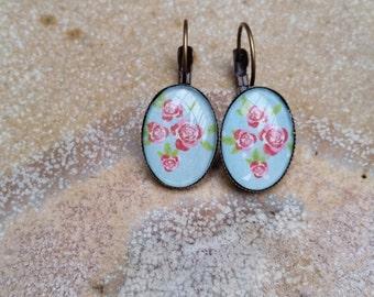 Blue Lever Back Threader Earrings, Blue Earrings, Pierced Earrings, Oval, Boho, Cameo, Glass Dome, Australian, Gift for Her, Ladies Gift