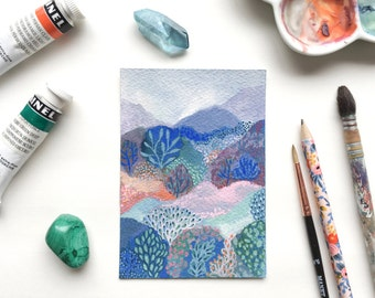 Poetic landscape - painting gouache on paper Arches - landscape for the little people - 12.8 x 9 cm