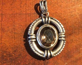 Smokey Quartz Pendant-Sterling Silver Pendant-Smokey Topaz Pendant-Handmade Vintage Pendant-Ethnic-Hippy-Gypsy-LV44