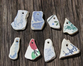 Sea Pottery Shards With Drilled Holes, Jewellery Making
