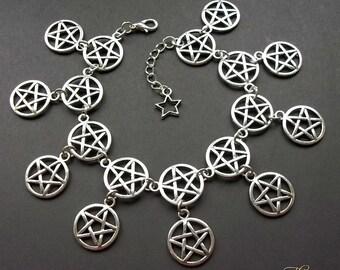 Pentagram Charm Bracelet, Pentagram Bracelet, Pentacle Bracelet, Wicca Bracelet, Wiccan, Pagan, Goth Bracelet, Silver Bracelet, Protection