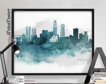 Charlotte poster, Charlotte, North Carolina, Watercolor, Skyline, Poster, City print, Travel, Wall art, Home decor, Wall decor, iPrintPoster