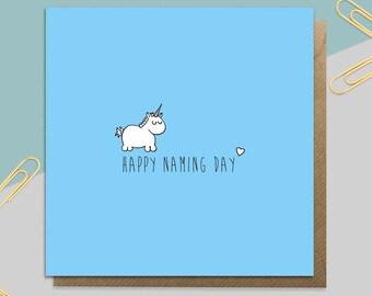 Boy's Unicorn Naming Day Card