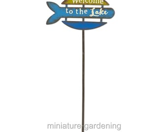 Welcome to the Lake Sign for Miniature Garden, Fairy Garden