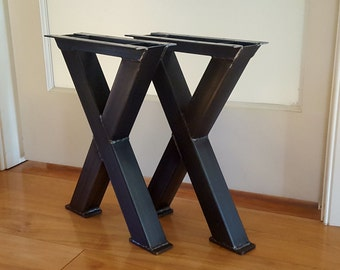 X Metal Table Legs - Steel Table Legs - Iron Table Legs - Bench or Coffee Table Height