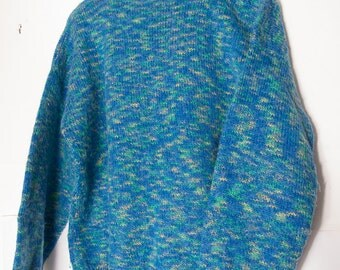 Sweater, hand knitted in a flecked blue yarn