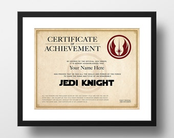 Star Wars Official Jedi Knight Certificate, Customized, Digital Download Print, Instant Download Printable Art