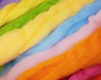 Corriedale Wool Spinning Felting Fiber Rainbow Pack